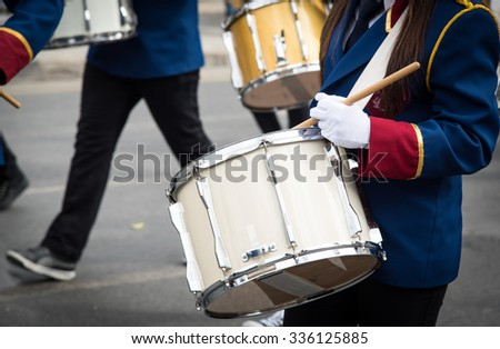 Teenage Students in Uniform playing drums during a parade for the celebrations of ochi day in Nicosia, Cyprus