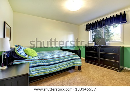Teenager Bedroom interior with black and green.