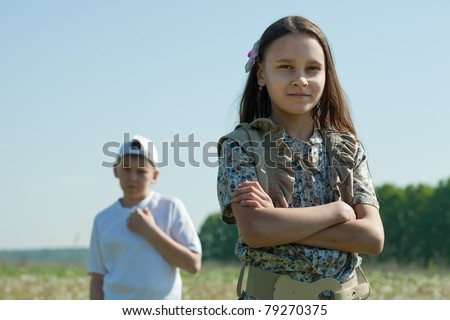 teenager boy and girl  having conflict at park