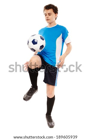 Teenager boy soccer player isolated on white background