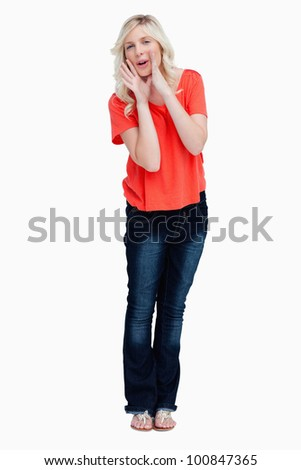 Teenager calling for someone against a white background