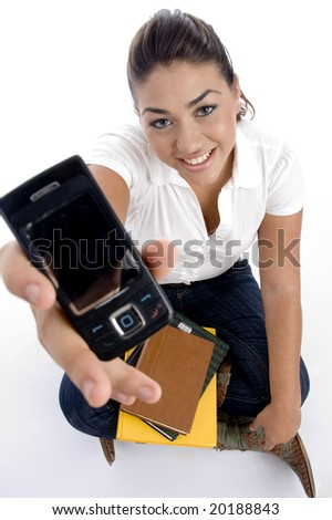 teenager college showing her multimedia cell with white background