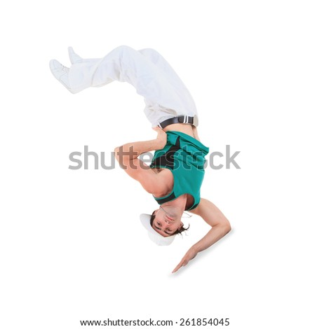 Teenager dancing break dance in action