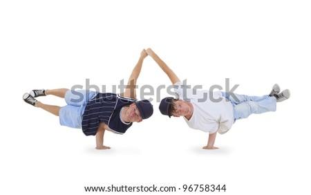 Teenager dancing breakdance in action - stock photo