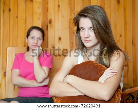 teenager daughter and mother after quarrel at home