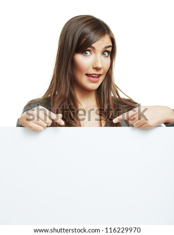 Teenager girl hold white blank paper. Young smiling woman show blank board.