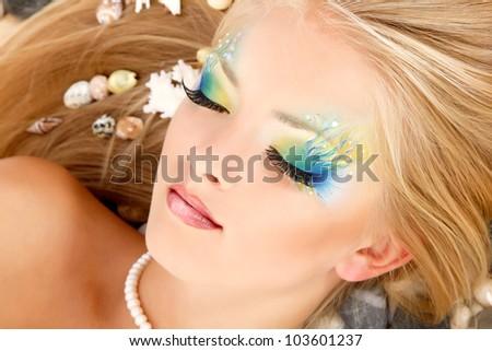 teenager girl mermaid beautiful make-up