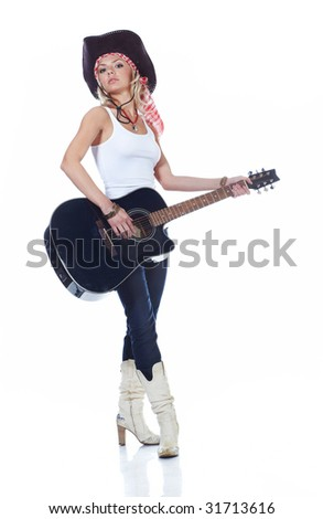 Teenager girl playing an acoustic guitar, isolated on white