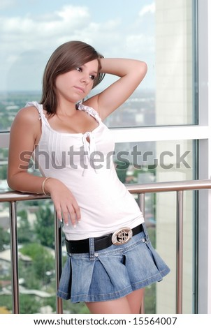 teenager girl, stand near window, sad, dreams
