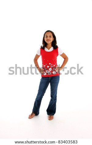 Teenager Girl Standing Alone on White Background