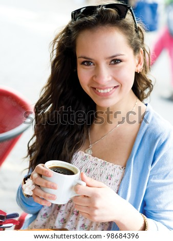 Teenager girl take the rest in cafe in shopping mall