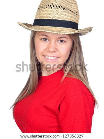 Teenager girl with a straw hat isolated on white background