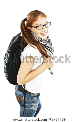 Teenager Girl with Backpack. Isolated on white background