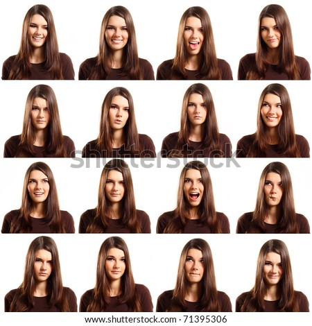 teenager girl with different facial expression face set isolated on white background