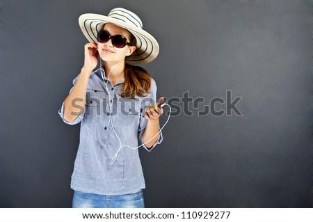 Teenager girl with earphones