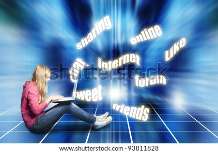 teenager girl with laptop, social media concept
