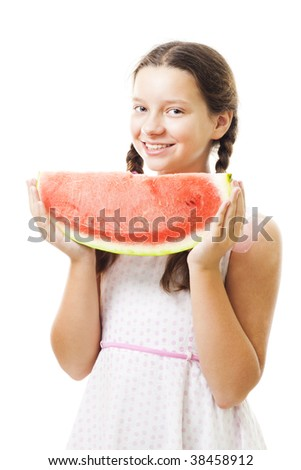 Teenager girl with piece of watermelon,stand and smile,isolated on white