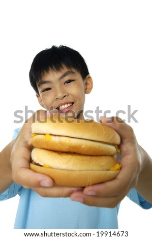 Teenager holding a burger
