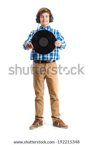 teenager holding a vinyl