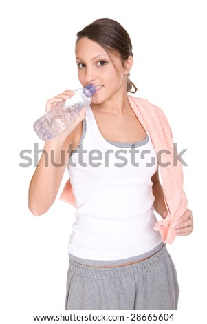 teenager in good shape. over white background