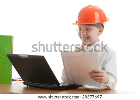 Teenager in helmet look like foreman verify home plan and drink coffee. Isolated on white