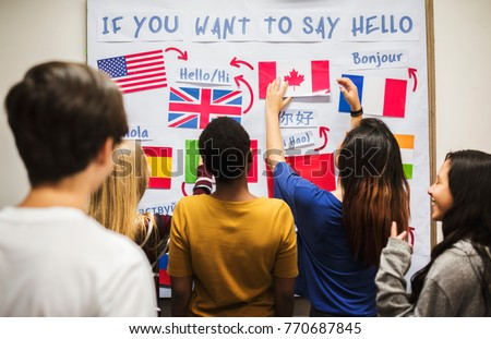 Teenager people at the national flags board