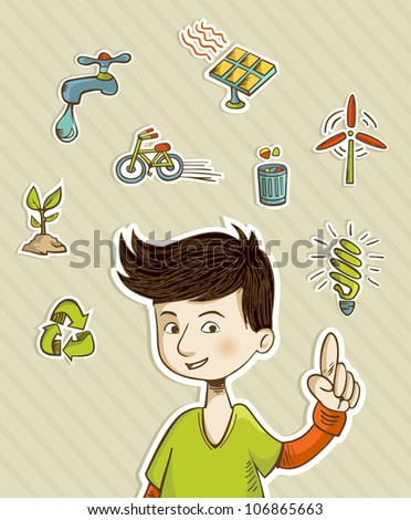 Teenager presents green actions with retro cartoon style icon set.