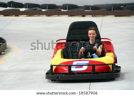 Teenager racing on the Go Cart