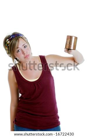 Teenager sad over her empty cup