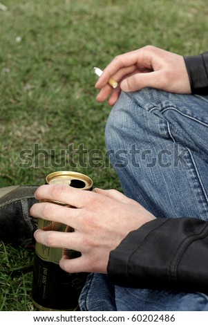teenager smoking and drinking beer