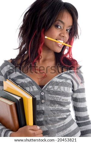 teenager student holding her study books with white background