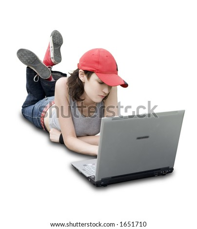 Teenager/Student With Laptop On White Background (clipping path included)