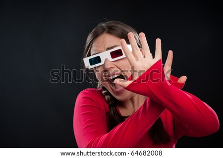 Teenager watching a 3D movie