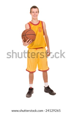 teenager with basketball. over white background