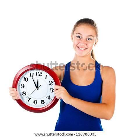 teenager with clock isolated on a white background