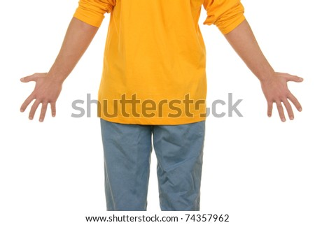 Teenager with  spread wide hands on white background