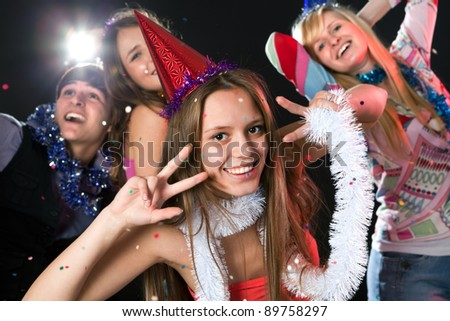 Teenagers celebrate the new year