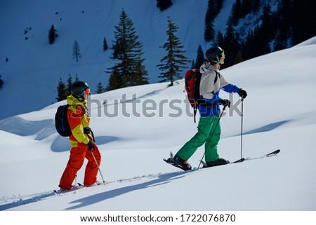 Teenagers cross country skiing, Tirol, Austria, Europe