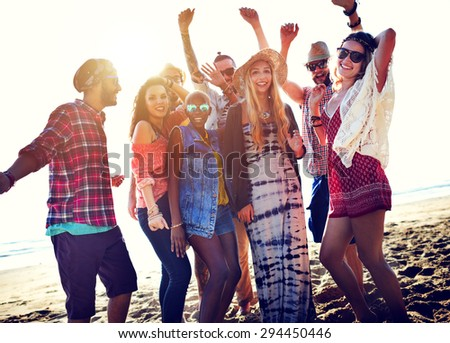 Teenagers Friends Beach Party Happiness Concept #294450446