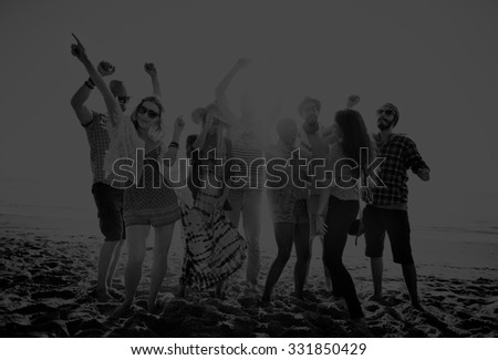 Teenagers Friends Beach Party Happiness Concept #331850429
