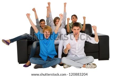 teenagers rejoicing