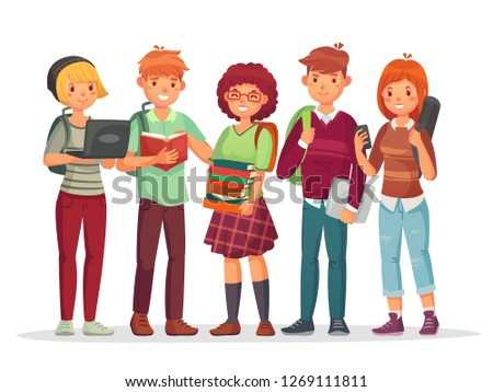 Teenagers students group. Young teens highschool smiling student friends english teenage learning together. Teenager happy characters with casual school backpack  illustration