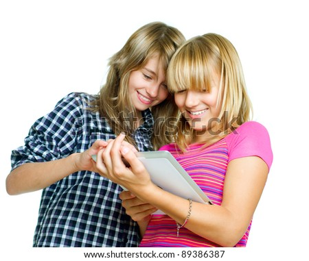 Teenagers using tablet PC.Touchpad