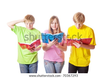 teenagers with books isolated on white