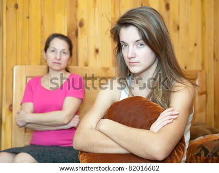 teenr daughter and mother having quarrel at home