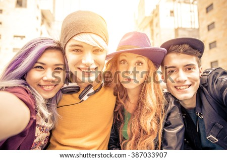 teens portrait. Group of teenagers smiling happily together