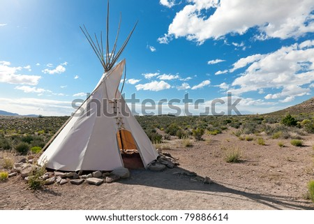 Teepee in american prairie near Grand Canyon Skywalk build by Hulapai tribe