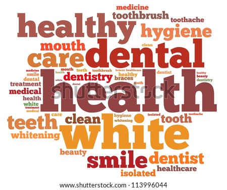 Teeth and dentist info-text graphics and arrangement concept on white background (word cloud)