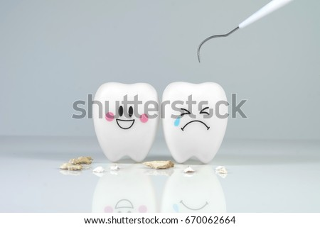 Teeth smile and crying emotion with dental plaque tool ,Concept Dental care cleaning  bacterial plaque