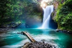 Tegenungan Waterfall it is one of places of interest of Bali / Secret Bali jungle Waterfall / Bali, Indonesia